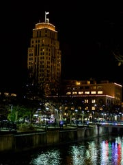 Downtown Battle Creek glows during the International Festival of Light.