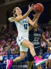 Florida Gulf Coast University's Jordin Alexander goes up for a shot during a game against University of North Florida at Alico Arena in Fort Myers, Fla., on Wednesday, Feb. 8, 2017.