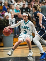 Gulf Coast High School's Mya Giusto brings the ball up court during the Class 8A regional final over Palm Harbor University in Naples, Fla., on Friday, Feb. 17, 2017.