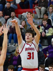 Matt Krause lights a three early in the  Northwestern at West Lafayette boys basketball on February 1st, 2018
