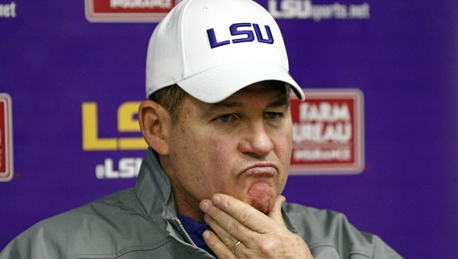 LSU head coach Les Miles ponders a reporter's question's following an NCAA college football game against Mississippi in Oxford, Miss., Saturday, Nov. 21, 2015. Mississippi won 38-17. (AP Photo/Rogelio V. Solis) ORG XMIT: MSRS133
