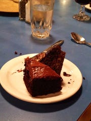 A well-deserved piece of chocolate cake.