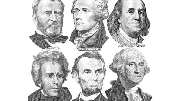 Six presidents with dollar bills