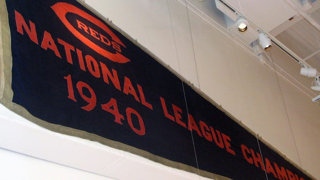 This 1940 National League pennant in the Reds Hall of Fame and Museum was donated by Buddy LaRosa in 2004. LaRosa found it in a tub he bought in a Crosley Field remnants auction.