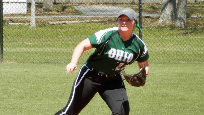 Ohio University-Chillicothe's Mariah Burton gets ready to field a ground ball this past week during a doubleheader against Coastal Alabama East.