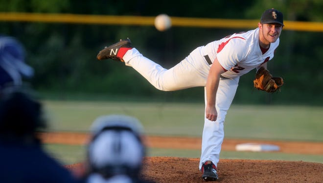Stewarts Creek's Austin Steel (22) pitches against Columbia Central during the Region 4-AAA tournament recently.