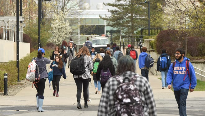 A view of students on campus at SUNY New Paltz.