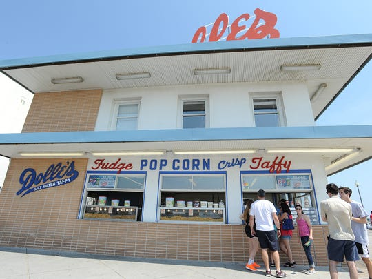 Customers wait in line at Dolles on the Rehoboth boardwalk.