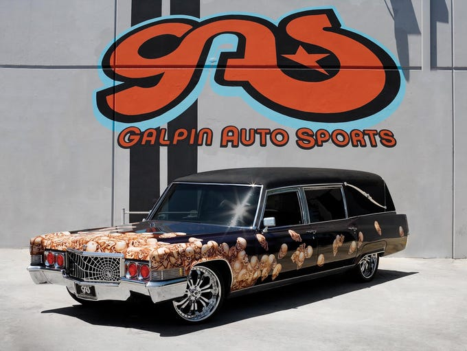 Customized hearse of Galpin Auto Sports in Los Angeles.