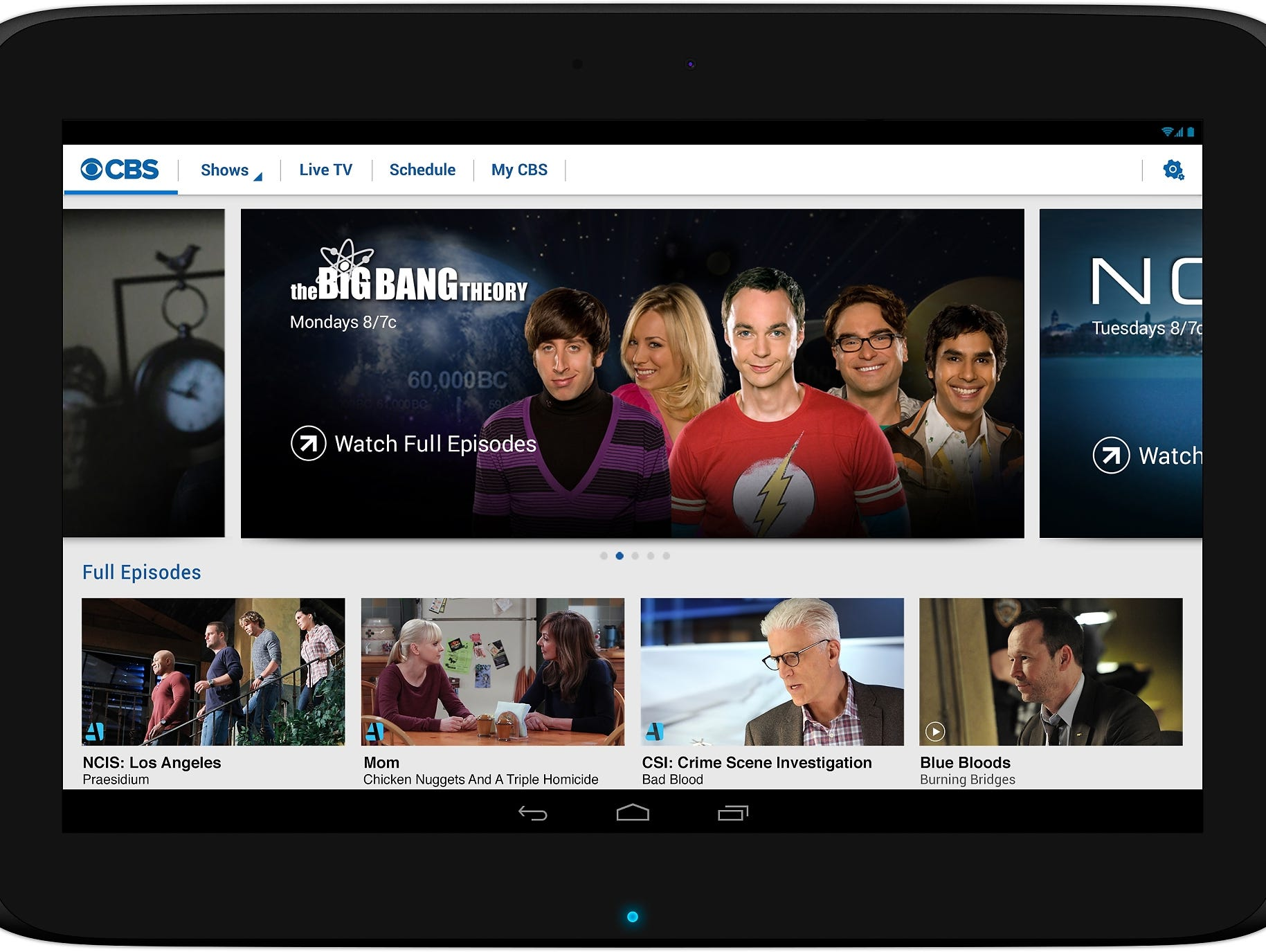 The CBS All Access subscription video service on a tablet.