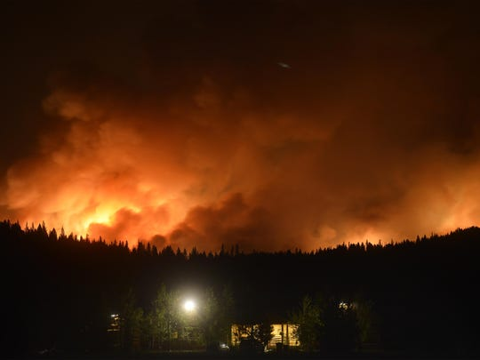 The Rice Ridge Fire burns outside of Seeley Lake in