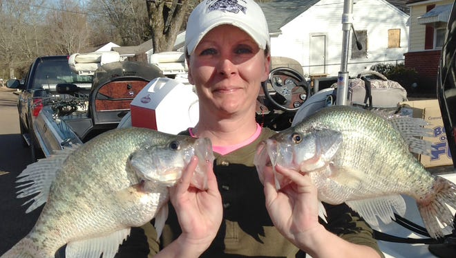 Kim Gray of Grenada said the fall crappie action at Grenada is hot this year.