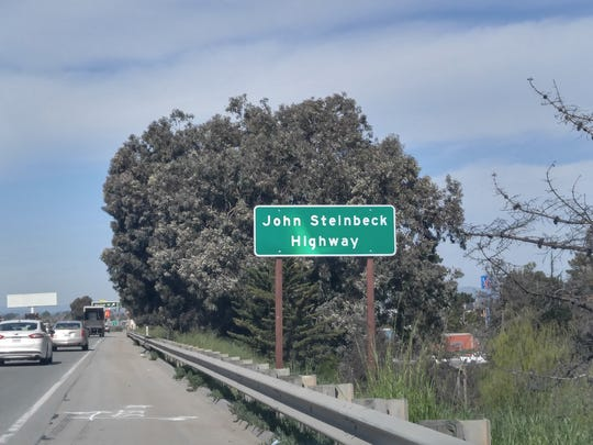 John Steinbeck Highway sign on Highway 101 in Salinas.