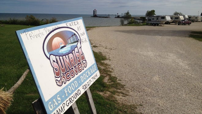 Owners of the Sunrise Cove Marina and Campground ask fishermen to be respectful of campers as they walk through their property to the Algoma pier.