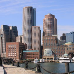 A view of the skyline in the city of Boston Skyline.