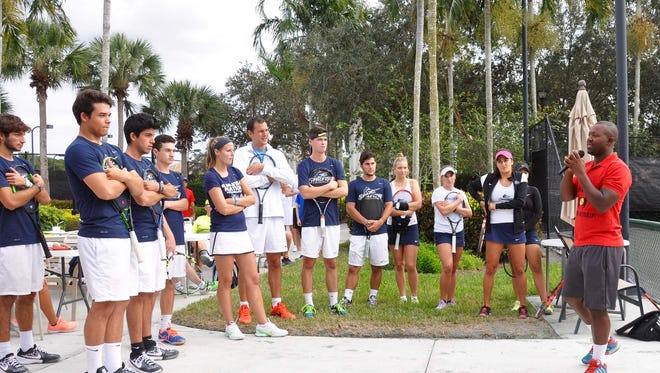 Paul Segodo, director of tennis for Palmira, talks about his foundation, Tennis for a Better Life, before the ProAm Tournament with players from Palm Beach Atlantic University Jan. 14.