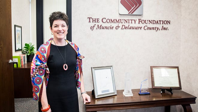 Kelly Shrock at the Community Foundation of Muncie and Delaware County office.