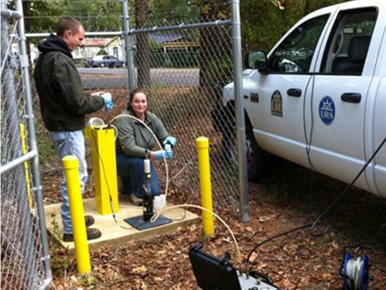 LSU-Shreveport students at Hanna Park monitoring well.