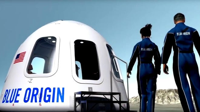 This undated image provided by Blue Origin shows an illustration of the capsule that will be used to take tourist into space. Space tourism companies are employing designs including winged vehicles, vertical rockets with capsules and high-altitude balloons. While developers envision ultimately taking people to orbiting habitats, the moon or beyond, the immediate future involves short flights into or near the lowest reaches of space without going into orbit.(Blue Origin via AP)