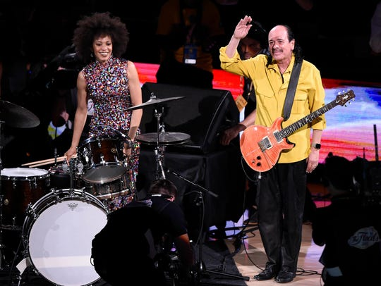 Carlos Santana and wife Cindy Blackman after performing