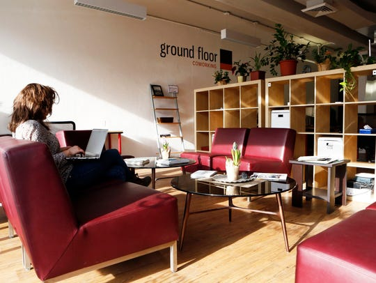 The front area with couches at Ground Floor Coworking
