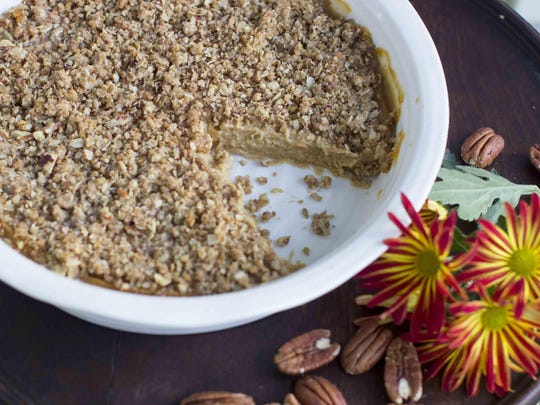Instead of relying on tons of cream and egg yolks for a smooth texture for the pumpkin crunch try silken tofu.