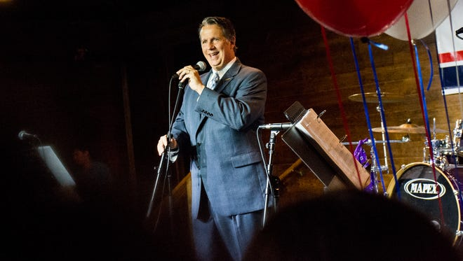 Joel Robideaux celebrates at his election night party. Oct 24, 2015.