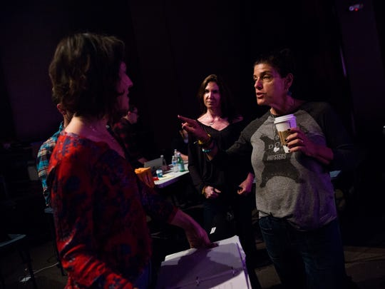 """From left to right, Tony Award nominated actress, Carmen Cusack, playwright Karen Siff Exkorn, and Tony Award nominated director, Sheryl Kaller, discuss sound cues during a rehearsal of the one-woman play, """"Do This"""", on Tuesday, January 3, 2017 at the Gulfshore Playhouse in downtown Naples. The play, written by Karen Siff Exkorn, is about her learning to deal with the life faced by her young autistic son. The play runs from January 7th through the 28th."""