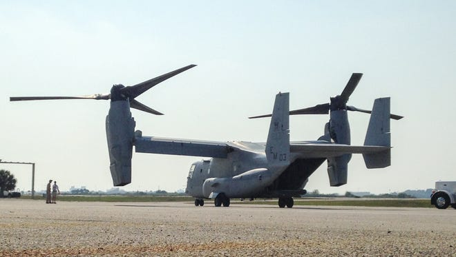 A Marine Corps MV-22 Osprey at Melbourne International Airport in advance of the 2015 Melbourne Air & Space show.