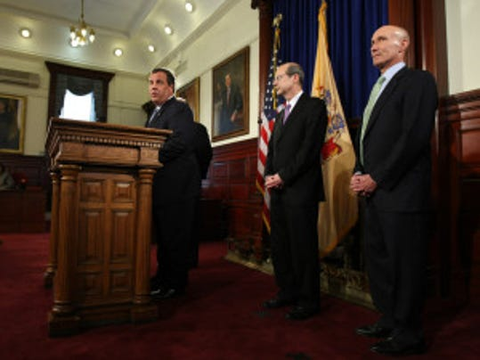 Gov. Chris Christie announced the Supreme Court nominations of Chief Justice Stuart Rabner and Superior Court Judge Lee Solomon on May 21 at the Statehouse. The judges will be interviewed today by the Senate Judiciary Committee (Tim Larsen/Governor's Office)