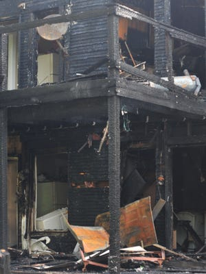A two-story back porch was on fire Monday when Richmond Fire Department personnel arrived at 414 NW First St.