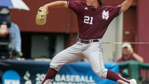 Mississippi State pitcher Jacob Lindgren throws in the first inning of an NCAA college baseball tournament regional game against Samford, Sunday, June 3, 2012, in Tallahassee, Fla. (AP Photo/Phil Sears)