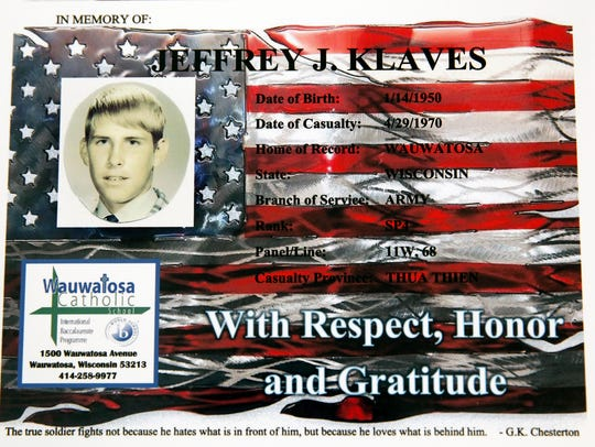 This memorial of Jeffrey J. Klaves, a soldier killed