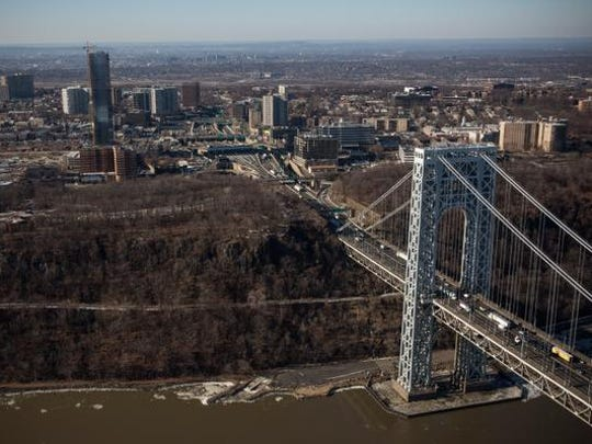 The New Jersey side of the George Washington Bridge, which connects Fort Lee and New York City, is seen in this file photo.