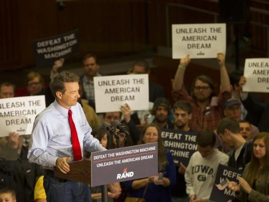 Presidential candidate Rand Paul speaks at the Iowa