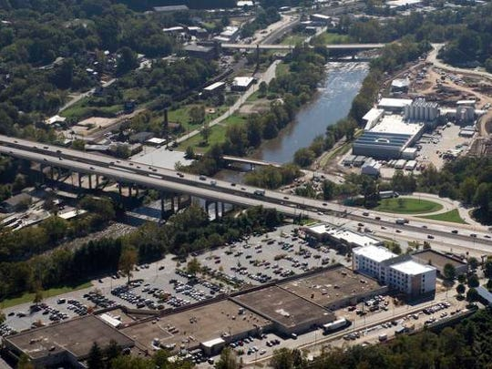 Reducing traffic congestion and accidents on Bowen Bridge, in the center of this aerial photo, is a major goal of the I-26 Connector project.