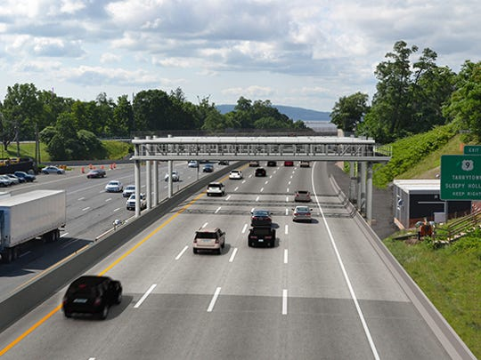 A rendering of the all-electronic toll collection system on the southbound Thruway in South Nyack. The system is expected to go live in April.
