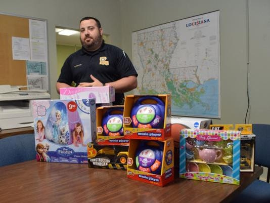 LSUA officer Marty Brown heading the LSUA Police Department Toy Drive. The toys will be delivered by the officers to children in the hospital.