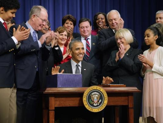 *** BESTPIX *** President Obama Signs The Every Student Succeeds Act At The White House