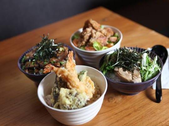 Kukai rice bowls, including the $11 Ten Don with tempura shrimp and vegetables.