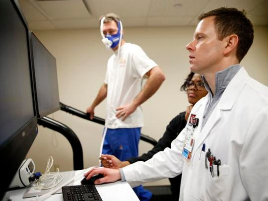 Dr. Michael Emery, cardiologist at IU Health Methodist Hospital, prepares to stress test specific to athletes needs on Feb. 16, 2016.
