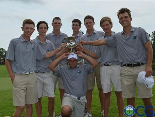 WALLACE - Roberson senior Matt Sharpstene and Christ School junior Carson Ownbey were part of the golf team that brought home the Carolinas-Virginia Junior Vinny Giles trophy on Sunday with a 8.5 to 7.5 win over Virginia.