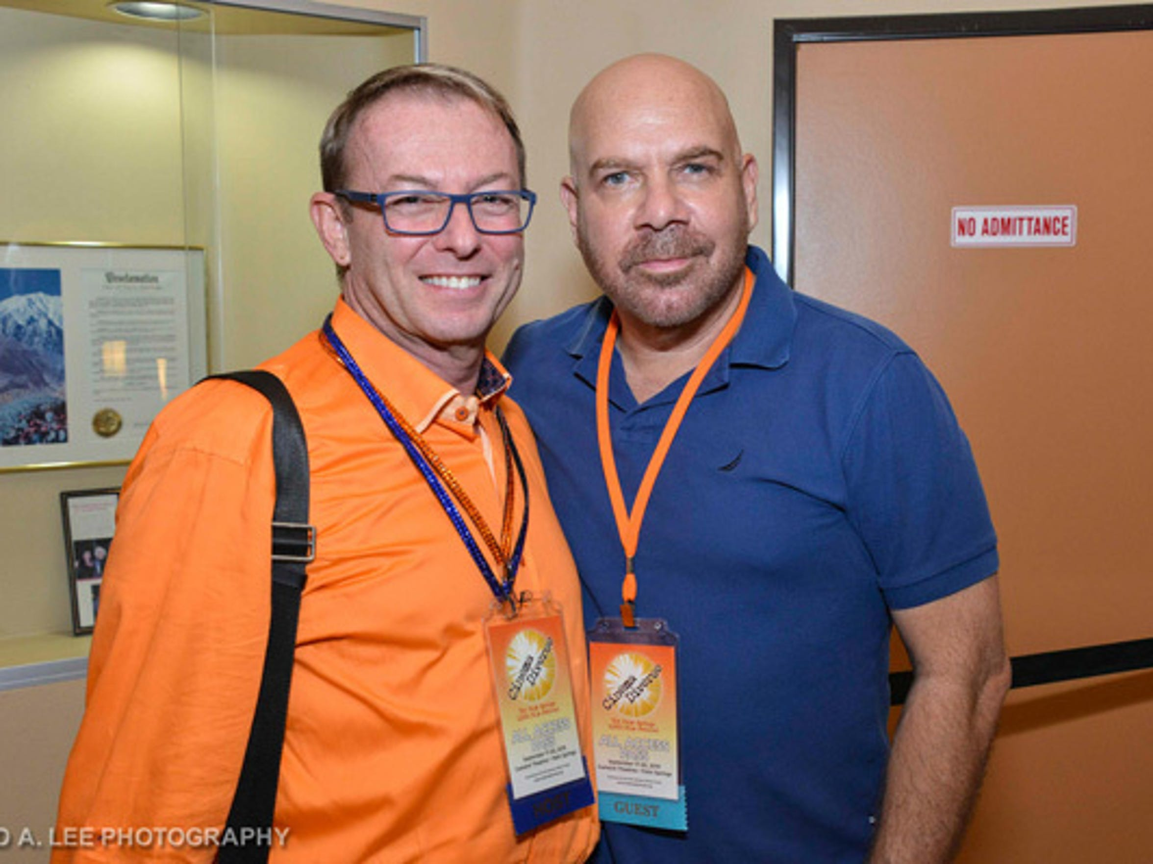 Michael C. Green is seen with pioneering openly gay comic actor Jason Stuart at a past Cinema Diverse film festival.