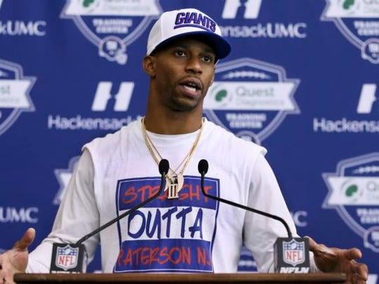 New York Giants wide receiver New York Giants wide receiver Victor Cruz answers a question following NFL football practice, Wednesday, Jan. 4, 2017, in East Rutherford, N.J. (AP Photo/Mel Evans)