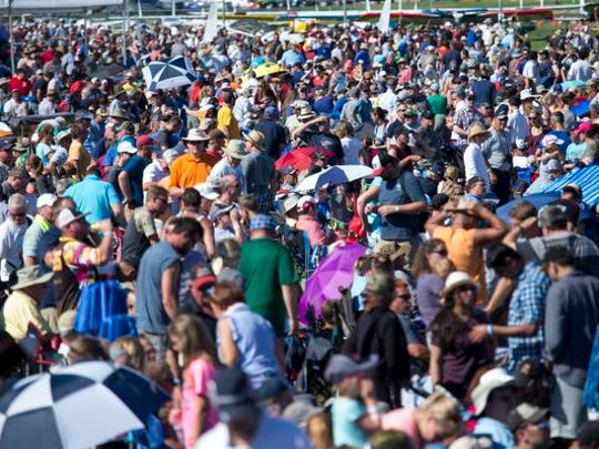 A huge crowd of aviation fans arrive Saturday to the EAA grounds for day six of AirVenture events July 29, 2017.