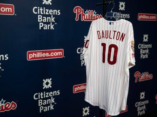 Displayed is a during a Darren Daulton jersey at a news conference in Philadelphia, Monday, Aug. 7, 2017. Darren Daulton, the All-Star catcher who was the leader of the Phillies' NL championship team in 1993, has died. He was 55. (AP Photo/Matt Rourke)