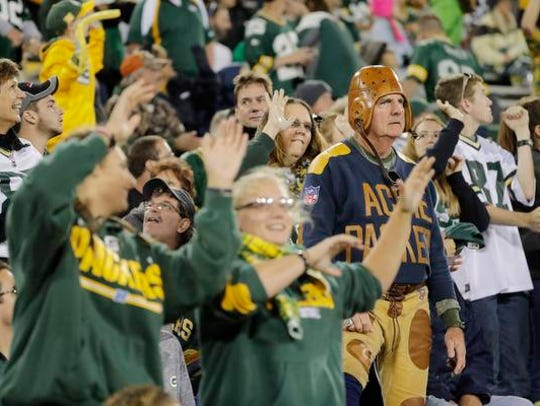 "Packers fans ""Jump Around"" during the 4th quarter on"