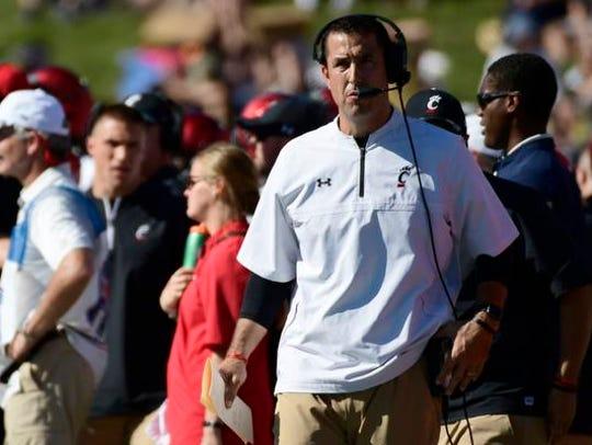 Cincinnati Bearcats head coach Luke Fickell looks on