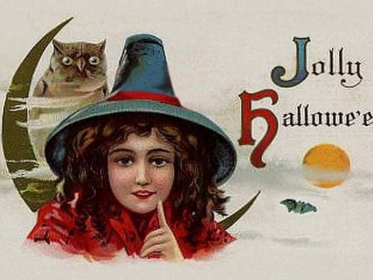 This vintage Halloween postcard of a witch is from