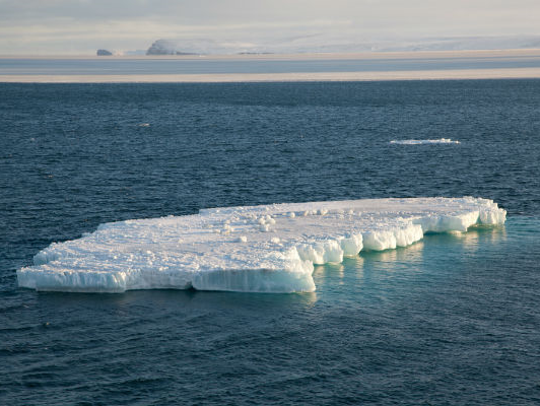 An iceberg floats in the Chukchi Sea in the Arctic
